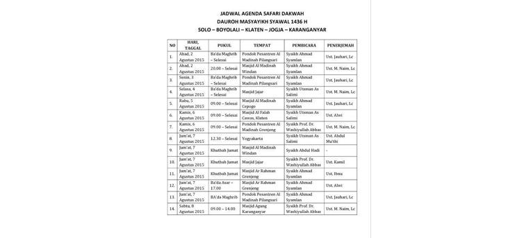 Jadwal Daurah Masyaikh Syawal 1436 Solo & Sekitar